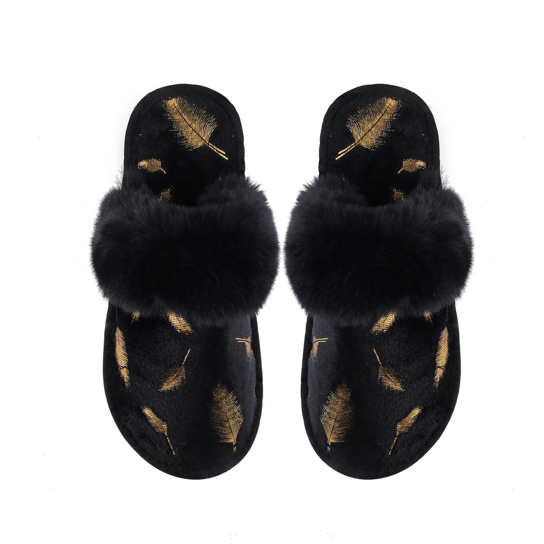 GINA SLIPPERS - BLACK WITH GOLD LEAF FOILING DESIGN