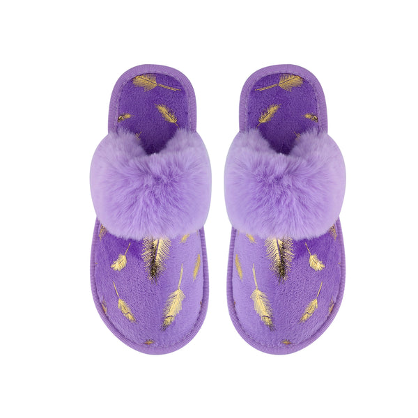 GINA SLIPPERS - PURPLE WITH GOLD LEAF FOILING DESIGN