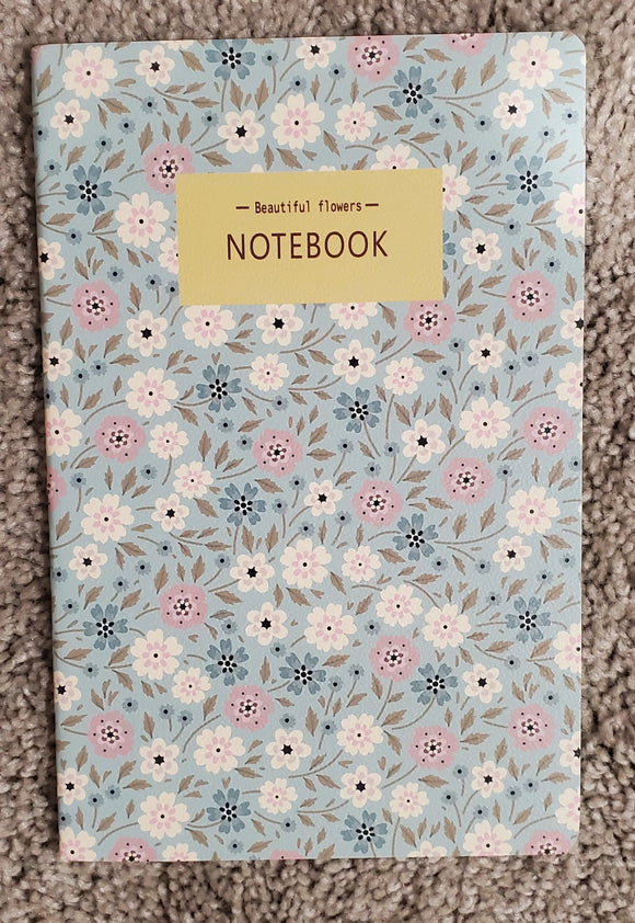 Beautiful Flowers Blue, White & Pink Notebook