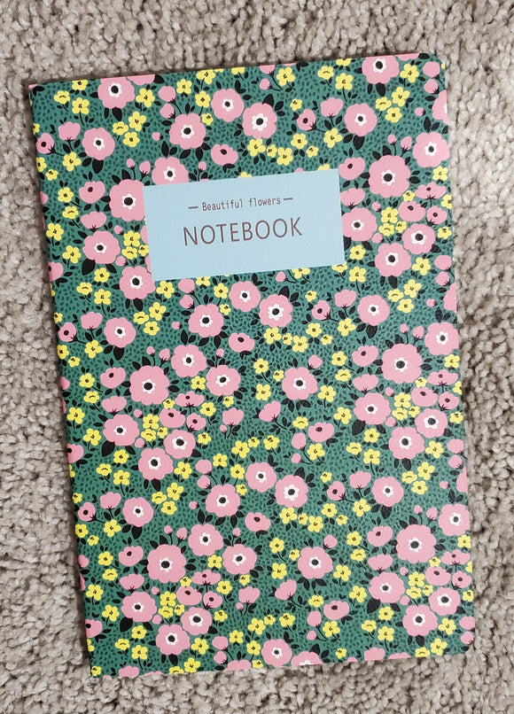 Beautiful Flowers Green and Pink Notebook