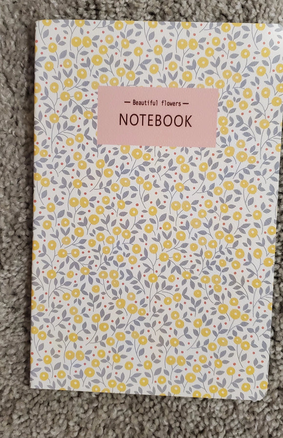 Beautiful Flowers Yellow and Grey Notebook