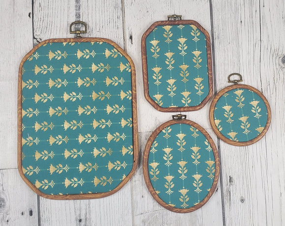 Deco/Roaring 20's Pin Hoop - Aqua and Gold Pattern