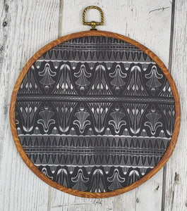 Deco/Roaring 20's Pin Hoop - Black and Silver Pattern