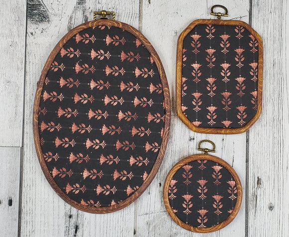 Deco/Roaring 20's Pin Hoop - Black and Rose Gold Pattern