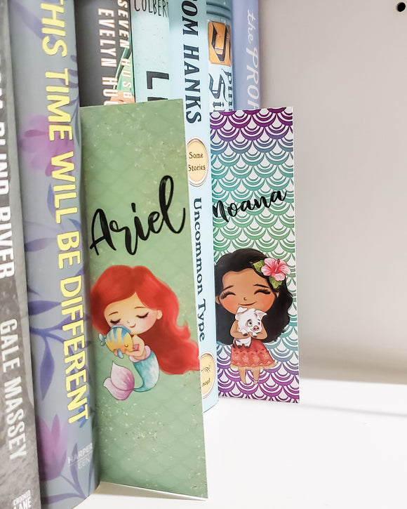 Ariel and Moana Double Sided Bookmark - bibliophileprints