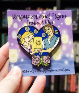 Rapunzel and Flynn Heart Enamel Pin - bibliophileprints