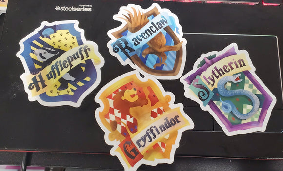 Hogwarts House Stickers  - Vinyl Sticker - bibliophileprints
