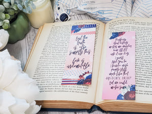 Red, White & Royal Blue Double Sided Bookmark - bibliophileprints