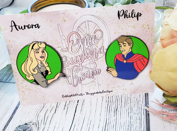 Aurora and Philip SET Enamel Pins - bibliophileprints