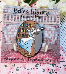 Belle in Library Enamel Pin - bibliophileprints