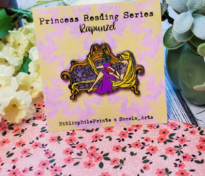 Rapunzel Reading with Pascal in Chair SERIES Enamel Pin - bibliophileprints