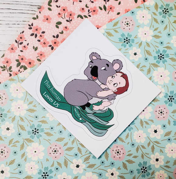 Koala and Baby Tarzan  Sticker BENEFITS AUSTRALIA ITEM - bibliophileprints