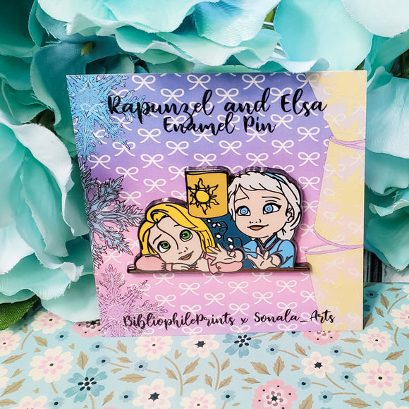 Elsa and Rapunzel Kids Enamel Pin - bibliophileprints