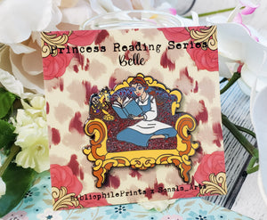 Belle Reading to Lumiere and Cogsworth in Chair SERIES Enamel Pin - bibliophileprints