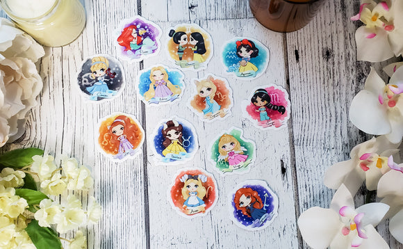 Zodiac Princesses Vinyl Stickers - bibliophileprints