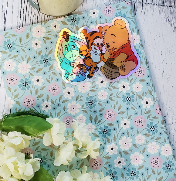 Pooh and Friends Sticker  - Holographic Vinyl Stickers - bibliophileprints