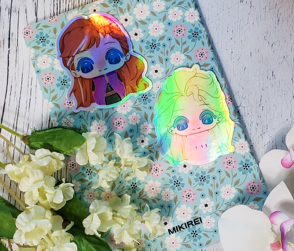 Chibi Dolls Anna and Elsa  - Holographic Vinyl Stickers - bibliophileprints