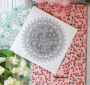 "Mini 5""x 5""  Coloring Mini Prints - Flower Mandala Set 1"
