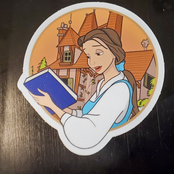 Belle Reading Vinyl Sticker