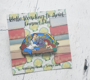Belle Reading to Ariel Enamel Pin - bibliophileprints