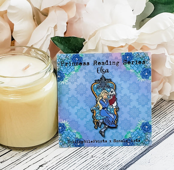 Elsa Reading to Olaf in Chair SERIES Enamel Pin