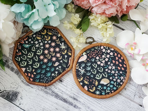 Fairy Garden - Navy Pin Hoops - bibliophileprints