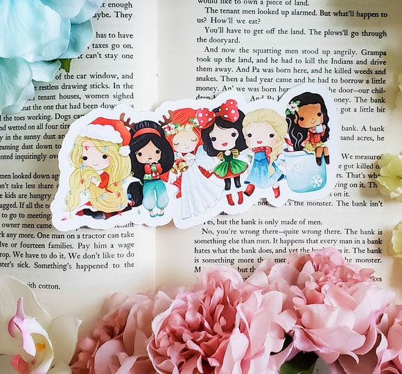 Christmas Princesses Diecut Bookmark - bibliophileprints