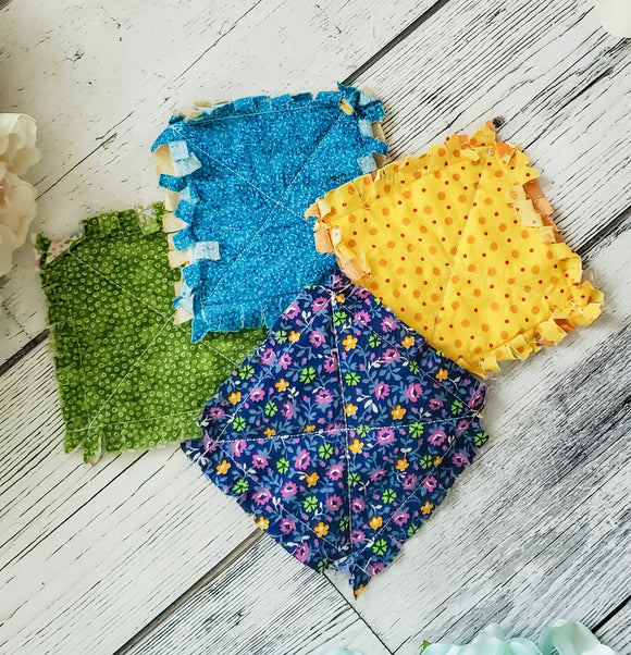 Mixed Color Rag Quilted Coaster Set  - Made by Momma - bibliophileprints