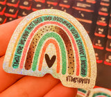 Teacher Rainbow  - Holographic Glitter Vinyl Stickers - bibliophileprints