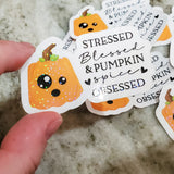 Pumpkin Spice Obsessed Sticker - Planner Sticker - Computer Decal - Sparkly Sticker
