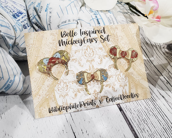 Mickey Ear Set Enamel Pins - Belle Inspired!