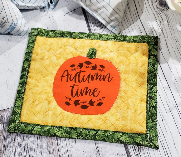 Autumn Time Pumpkin Mug Rug - Made by Momma - bibliophileprints