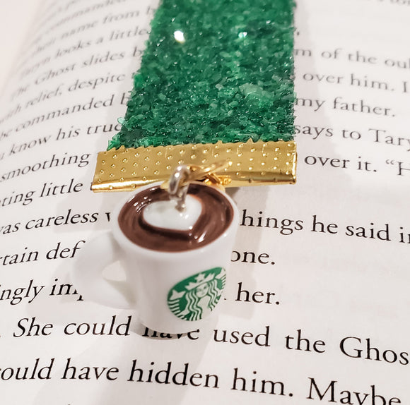 Coffee and Books Green Glitter Fabric Bookmark - Book and Starbucks Charms