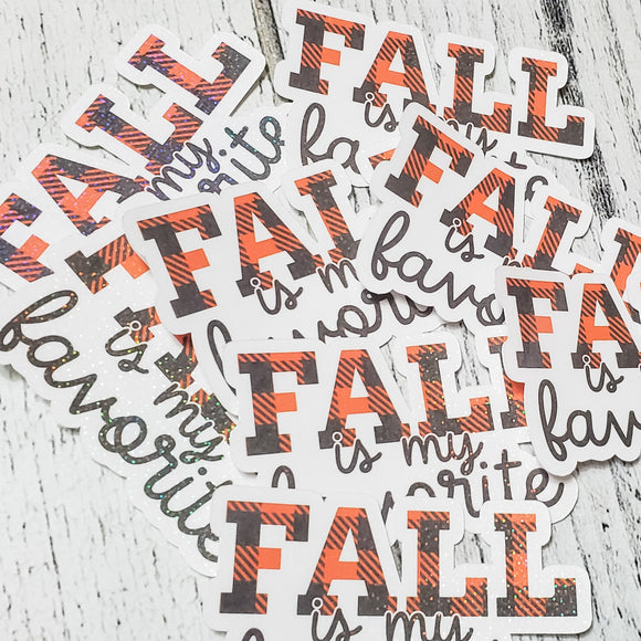 Fall is My Favorite Sticker - Planner Sticker - Computer Decal - Sparkly Sticker - bibliophileprints