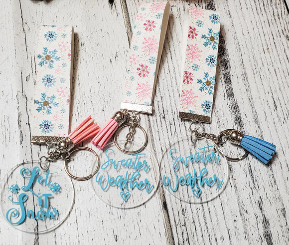 Winter Snowflakes Faux Leather and Acrylic Charm Key Chain - bibliophileprints