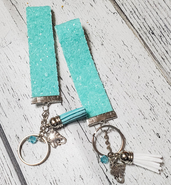 Moana Inspired Charm Faux Leather Glitter Key Chain