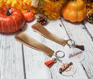 Autumn Circle Acrylic Charm Gold Key Chain