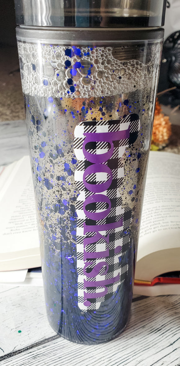 Bookish Buffalo Plaid and Purple Glitter Snowglobe Straw Cup