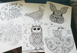 "Mini 5""x 5""  Coloring Mini Prints - Mandala Animals and Other"
