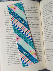 Blue and Pink Florals and Books Washi Tape Bookmarks