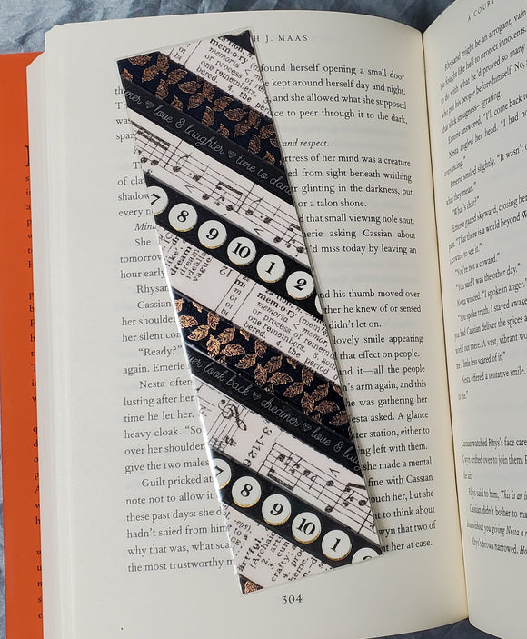 Black and White and Gold Music/Text Washi Tape Bookmarks