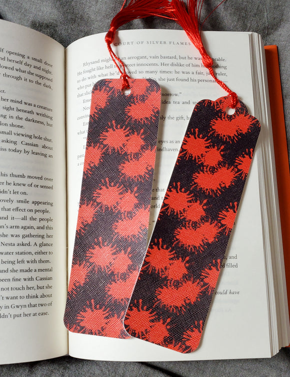 Black and Red Blood Drop Splatters Thriller Horror Faux Leather Bookmarks