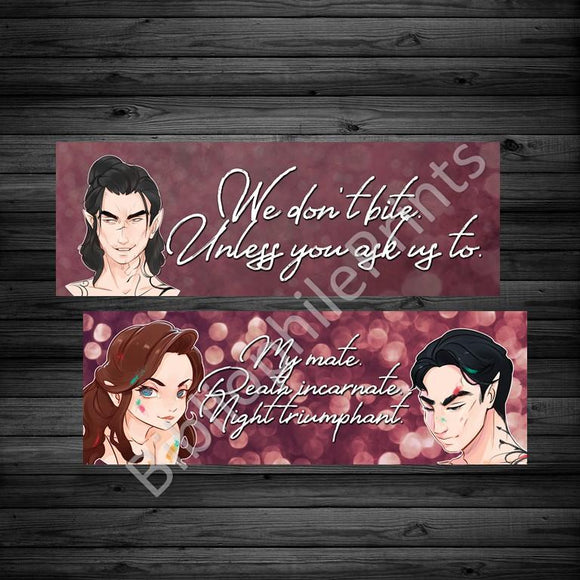 ACOMAF Cassian / Paint Covered Feyre and Rhysand Double Sided Bookmark - bibliophileprints