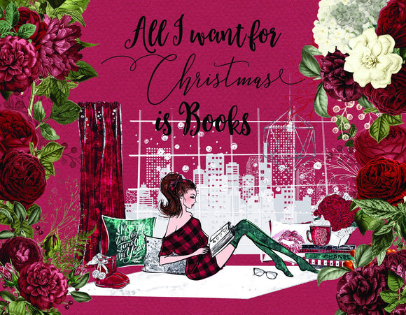 All I Want for Christmas Is Books 4.25 x 5.5 Print - bibliophileprints
