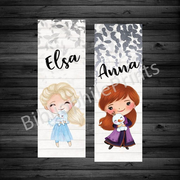 Elsa and Anna Double Sided Bookmark