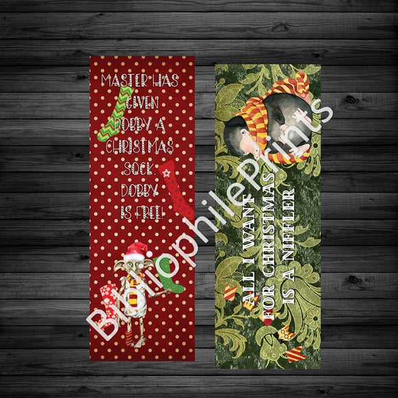 Christmas Harry Potter - Dobby, Niffler Double Sided Bookmark.  Dollar sale