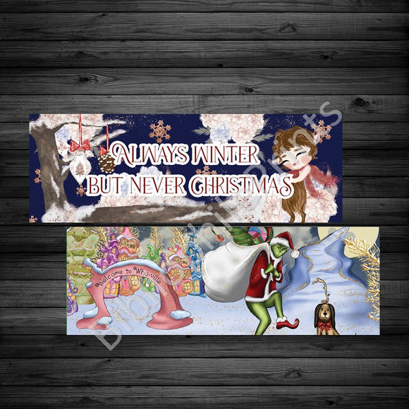 Christmas Movies - Narnia, The Grinch Double Sided Bookmark. Dollar sale