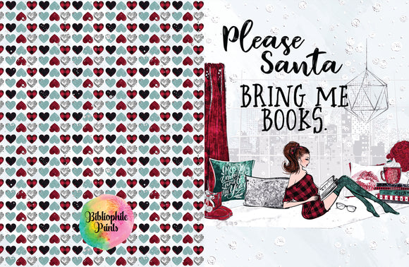 Please Santa, Bring Me Books Christmas Greeting Card