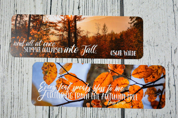 Fall Quotes Double Sided Bookmark