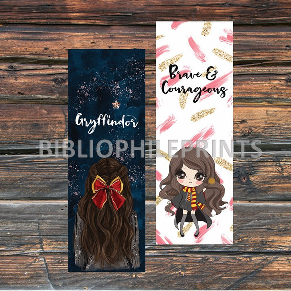 Gryffindor Girl Double Sided Bookmark - Brunette, Light Skin